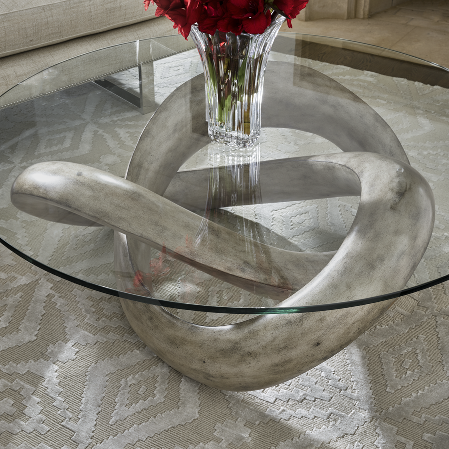 InfinityCocktail Table shown with: Silver Cloud finishClear glasstop