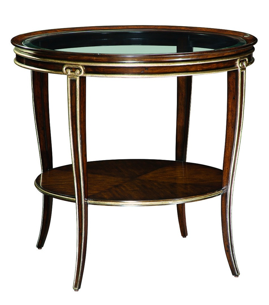 Ionia Round End Table shown with:Havana finishBurnished Silver Leaf finish trimClear glass top with beveled edge