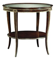 Ionia Round End Table shown with:Havana finishAged Venetian Gold Leaf finish trimRegency Star glass top with beveled edge