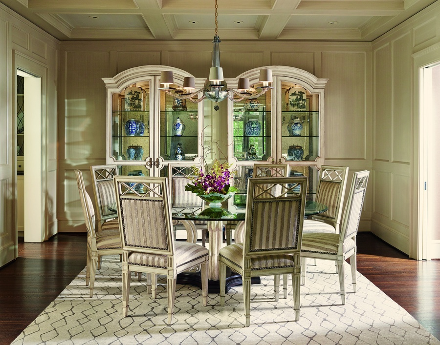 Ionia Round Dining Table shown with:Orleans finishStone pedestal
