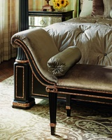 Ionia Bench shown with:Tight seatNoche finishAged Venetian Gold Leaf trimBronze Star nailhead frame trim