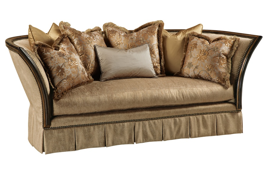 Iris Sofa shown with:Boxed bench seatBox pleated deepskirt with dressmaker back and sideswith decorative buttonsDeco SilverfinishBurnished SilverLeaf finish trimPewternailhead frame trim