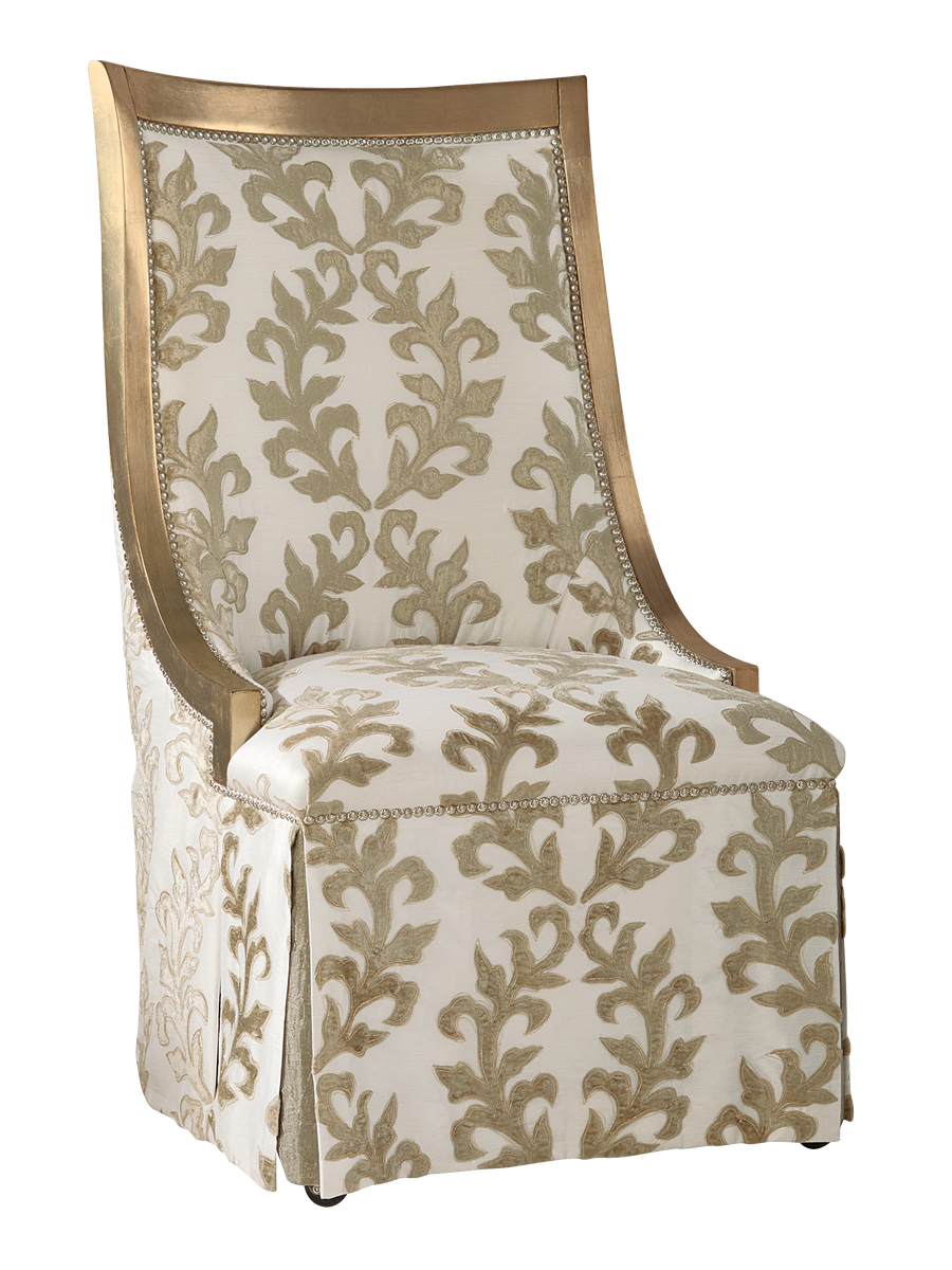 Jolie Side Chair shown with:Tight seat and backDeep skirt with split back and button detailPalazzo Silver finishMerengue naihead frame trimCasters