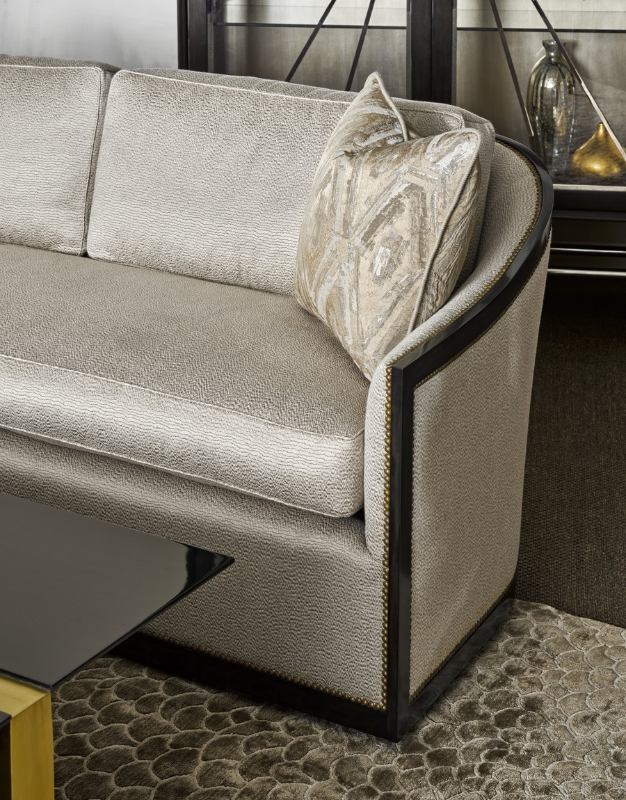 Jasmine Sofa shown with:Boxed bench seatBuilt-to-the-floor baseBombay finishSmall French Natural nailhead frame trim