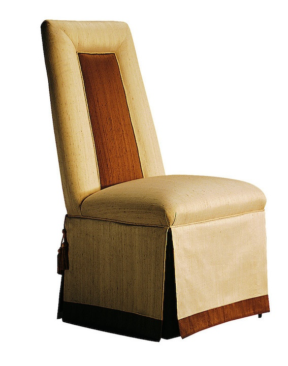 Justina Side Chair shown with:Tight seat and backDeep skirt with split back and button detailContrast underskirtAstoria nailhead trim around seatCastersAccessory tassel ties