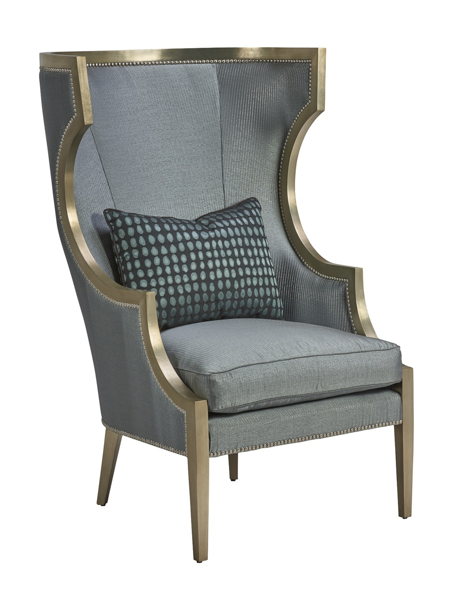 Karma Chair shown with:Cashmere Silver finishMerengue nailhead frame trim