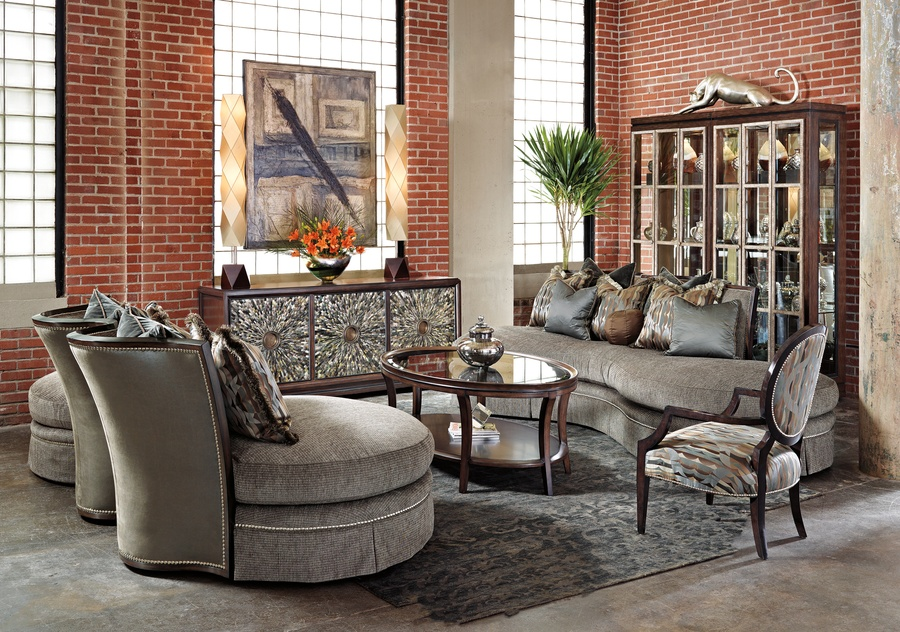 Kylie Sofa shown with: Boxed bench seatDeep skirt with built-to-the-floor backSumatra finish Silver nailhead frame trim