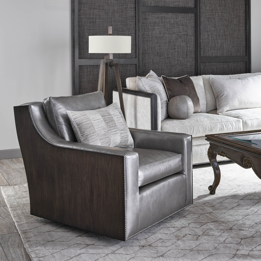Liam Chair shown with:Twilight finishGunmetal nailhead frame trim