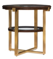 Lake Shore Drive EndTable shown with:BombayfinishSatin Brassmetal frameInset clear glasstop and shelf with beveled edge