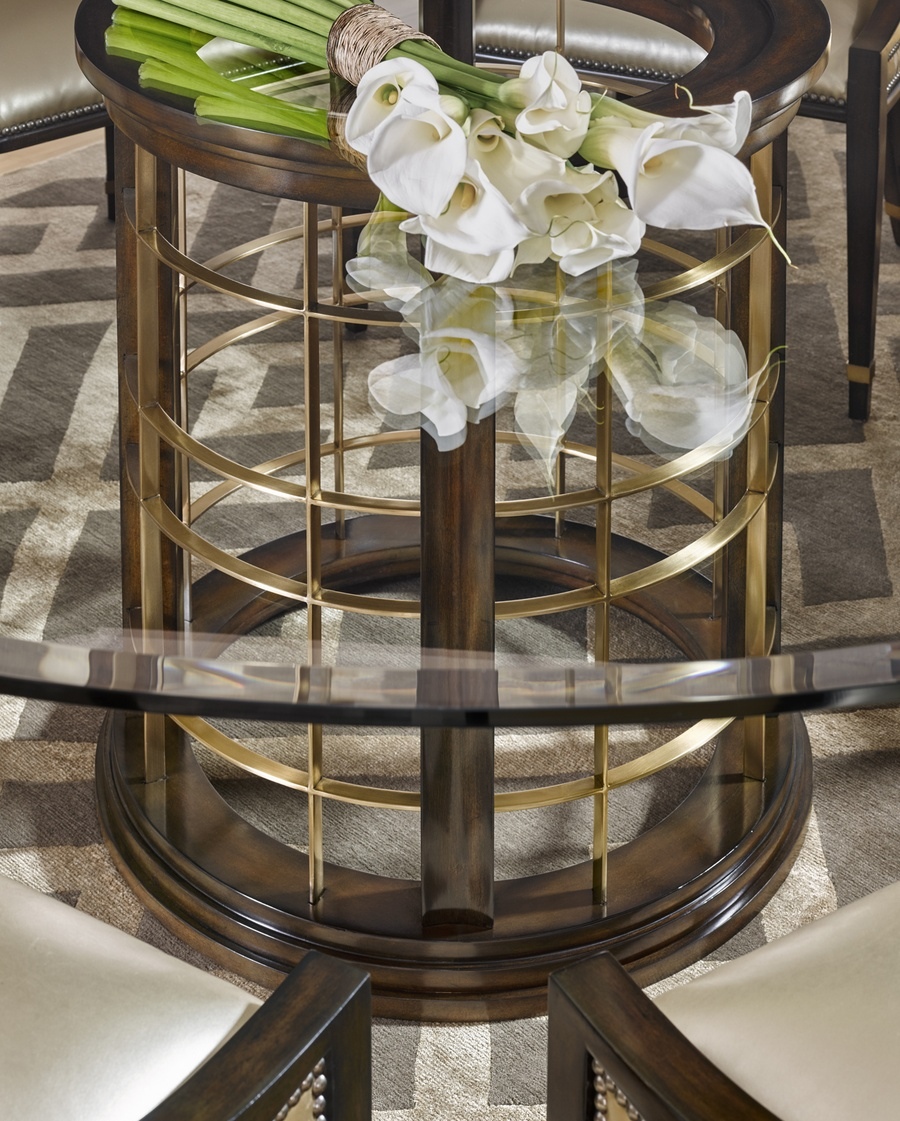 Lake Shore Drive Dining Table shown with:Contemporary Havana finishSatin Brass metal frame