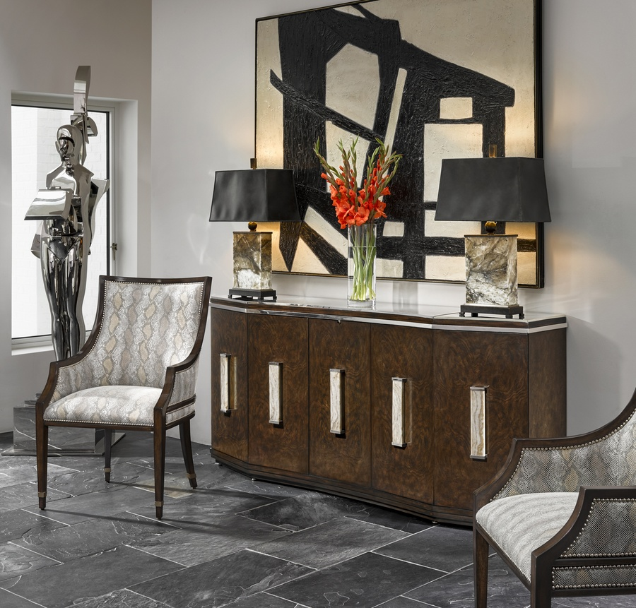 Lake Shore Drive Credenza shown with:Bombay finishStainless Steel topCrystal Stone Taupe and Polished Nickel hardware