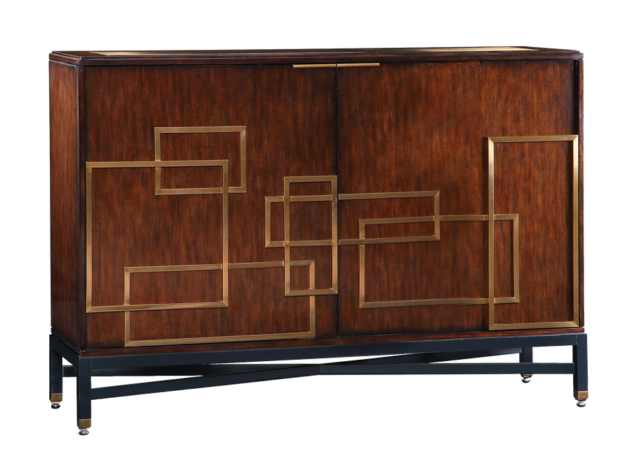 Lake Shore Drive Credenza shown with:Bombay finishContrast base in Caviar finishPolished Black Galaxy Granite topStainless Steel hardware