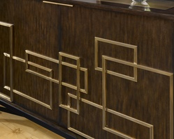 Lake Shore Drive Credenza shown with:Contemporary Havana finishContrast base in Caviar finishSatin Brass topSatin Brass decorative hardware