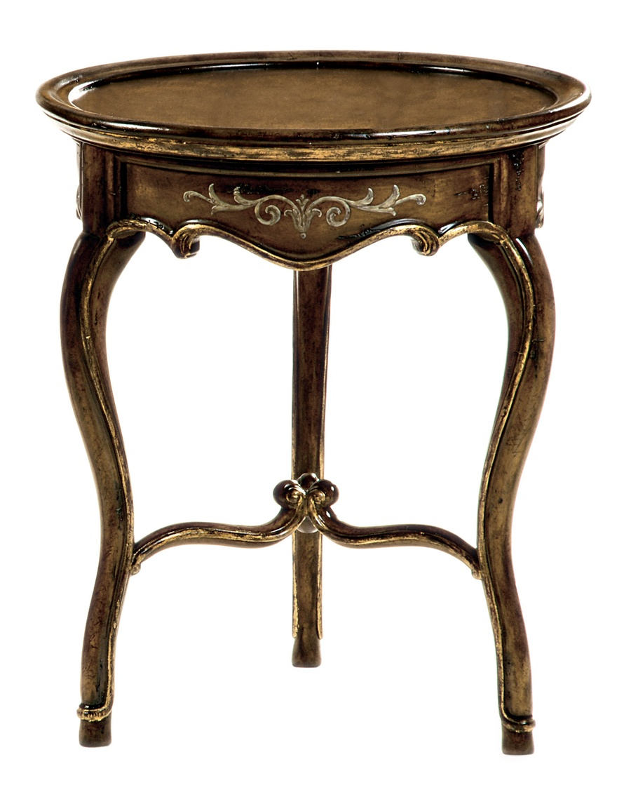 Les Marches Chairside Table shown with:Old World Hacienda finishSpecialty Leaf finish trimPainted decoration in Taupe finish