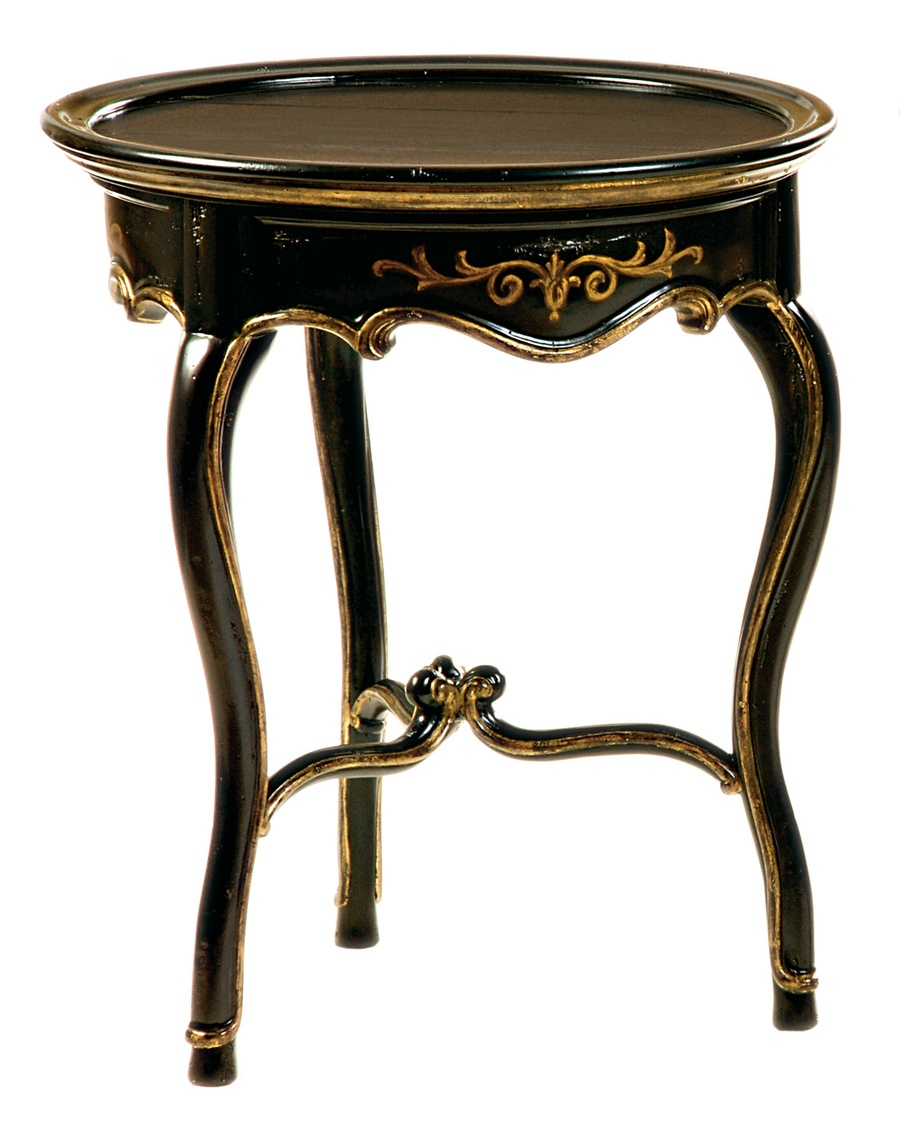Les Marches Chairside Table shown with:Old World Noche finishAged Gold Leaf finish trimPainted decoration in Gold finish