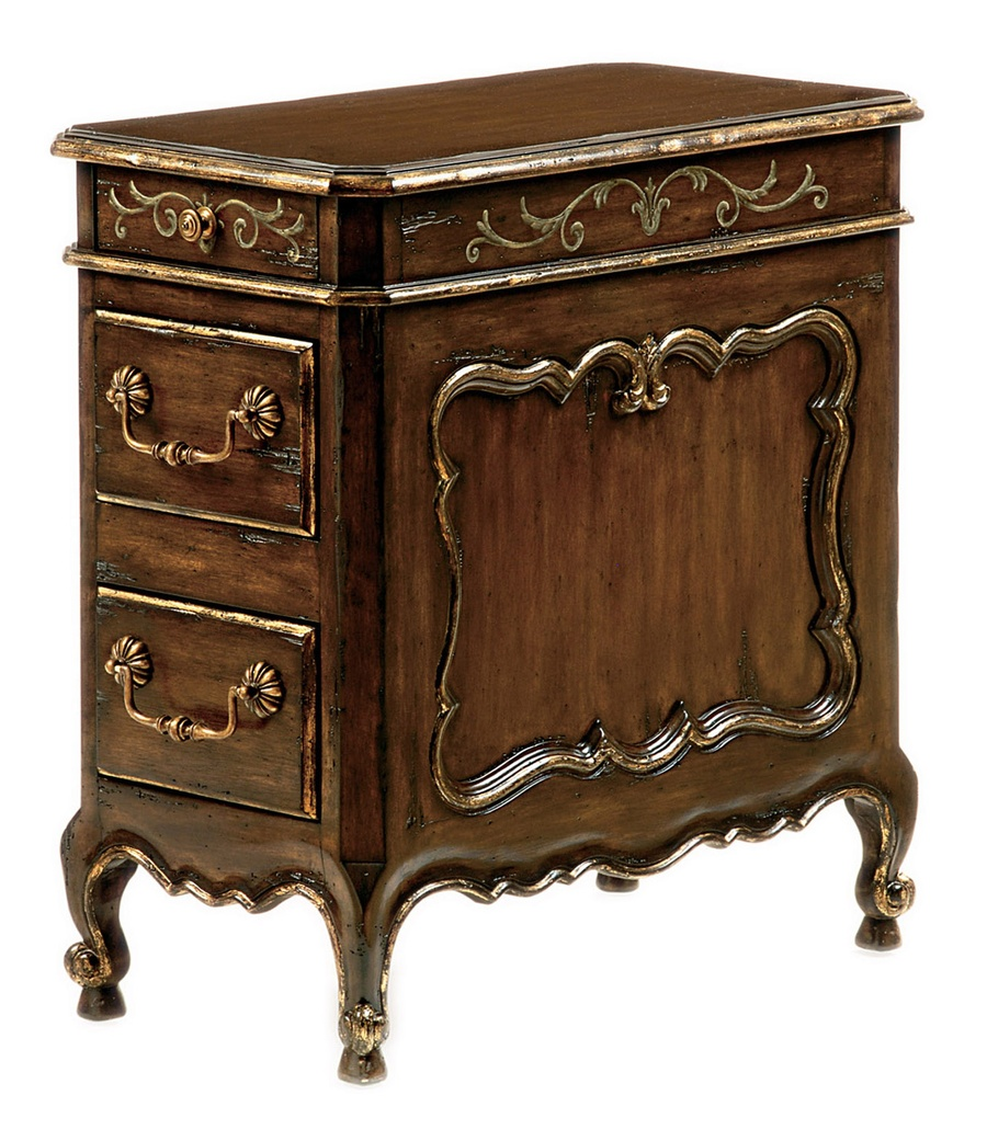 Les Marches Chairside Table shown with:Old World Briar finishSpecialty Leaf finish trimPainted DecorationAntique Brass hardware