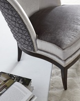 Leilani Chair shown with:Boxed bench seatRivierafinishon Exposed Wood Legs baseGlitterati nailhead frame trim