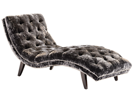 Lexi Chaise shown with:Button tufted seat and back Bombay finish Silver nailhead frame trim
