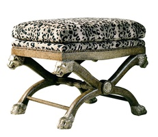 Lion Bench shown with:Semi-attached boxed seat cushionExposed carved hardwood frameNailhead frame trim