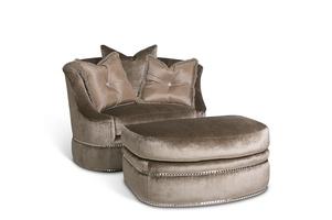 LanaChair and A Half shown with:Lana OttomanBoxed seat cushionBuilt-to-the-floorNailhead frame trim
