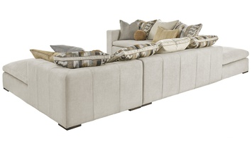 Lynx Sectional shown with:LNX44, LNX53, LNX62Boxed bench seatBuilt-to-the-floor base with wood legs in Saddle finish