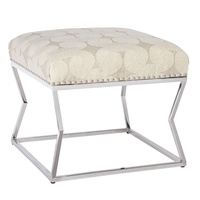 Lotus Bench shown with:Tight seatStainless Steel legsSilver nailhead trim spaced over fabric tape