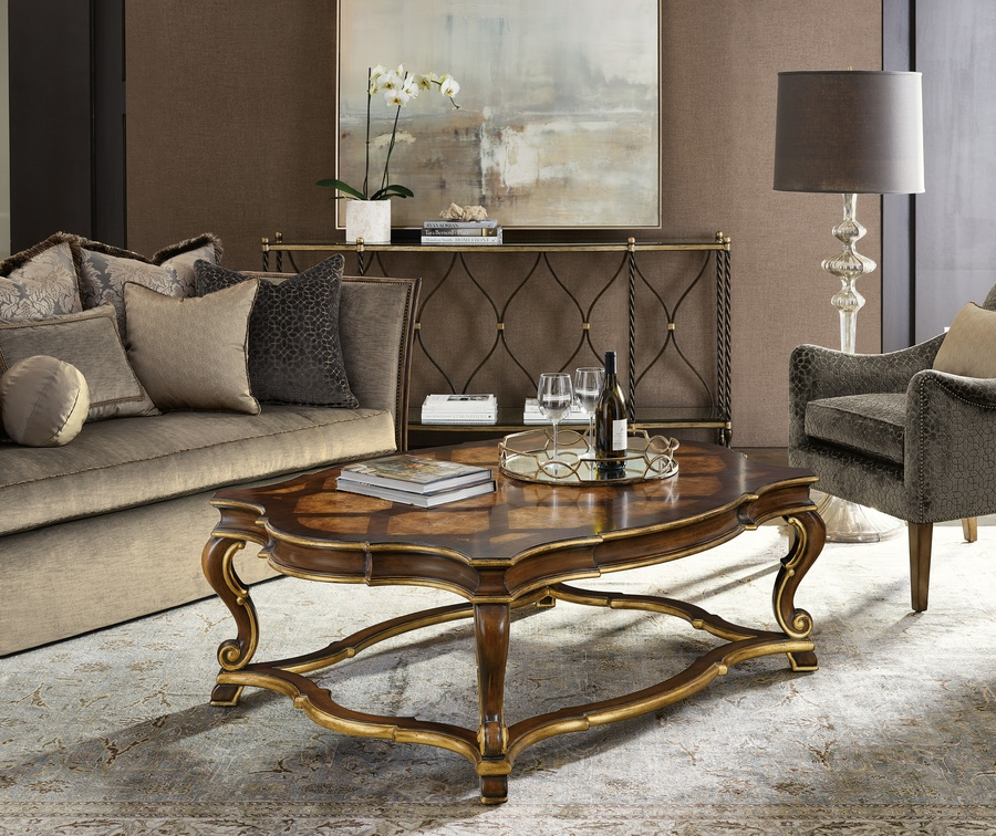 Majorca Cocktail Table shown with:Briar finishVenetian Gold finish trim