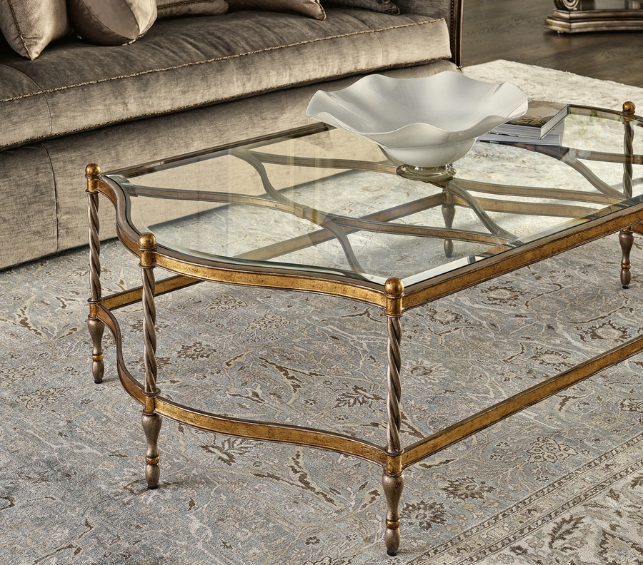 Majorca Cocktail Table shown with:Bronze finishBurnished Silver finish trim