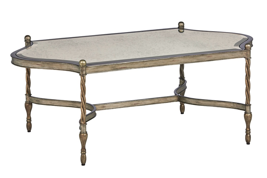 Majorca Cocktail Table shown with:Silver Cloud finishPolished Crystal Stone Taupe top