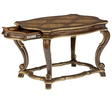 Majorca End Table shown with:Saddle finishAged Medici finish trimAntique Nickel hardware