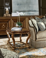 Majorca End Table shown with:Briar finishVenetian Gold finish trimAntique Brass hardware