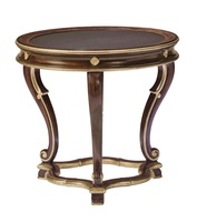 Majorca End Table shown with:Havana finishBurnished Silver finish trimPolished Negra Marquisa Marble top