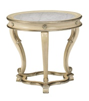 Majorca End Table shown with:Malt finishSilver Cloud finish trimPolished Carrera Marble top