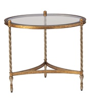 Majorca End Table shown with:Verona Silver finishVenetian Gold finish trimInset Clear Glass top