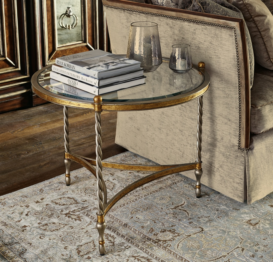 Majorca End Table shown with:Bronzed Silver finishAntique Mirror top
