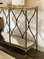 Majorca Console shown with:Aged Metal finishAged Medici finish trimInset Clear Glass topAntique Mirror bottom shelf