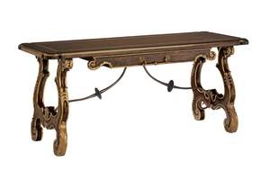 Majorca Desk shown with:Briar finishVenetian Gold finish trimBronzed Brass metal stretcherAntique Brass hardware
