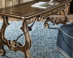 Majorca Desk shown with:Dark Bay finishAntique Silver finish trimBlackened Iron metal stretcherBronzed Brass hardware