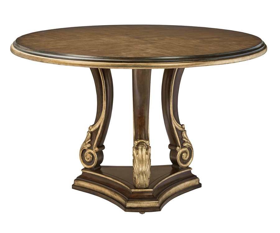 Majorca Dining Table shown with:Bronzed Silver finish on baseHavana finish on topAged Medici finish trim