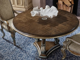 Majorca Dining Table shown with:Dark Bay finishVersailles Leaf finish trim