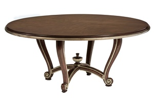"Majorca Dining Table shown with:Havana finishAged Silver cloud finish trim72"" diameter top"