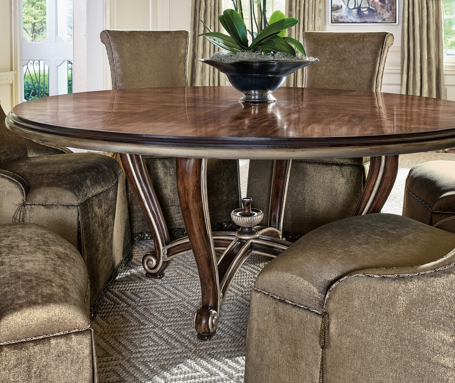 """MajorcaDining Tableshown with:Havana finishAged Silver cloudfinish trim72"""" diameter top"""