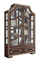 Majorca Display Cabinet shown with:Havana finishAged Silver Cloud finish trimClear Mirror backAntique Nickel hardware