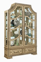 Majorca Display Cabinet shown with:Dapple finishSilver Cloud finish trimClear Mirror backAntique Nickel hardware
