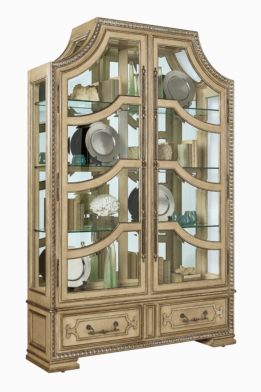 Majorca Display Cabinet shown with:Bombay finishVenetian Gold finish trimAntique Mirror backAntique Brass hardware
