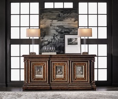 Majorca Credenza shown with:Havana finishAged Silver Cloud finish trimAntique Mirror door facesBronzed Silver metal grillworkPolished Madeira Marble topAntique Nickel / Medici Nickel traditional hardware