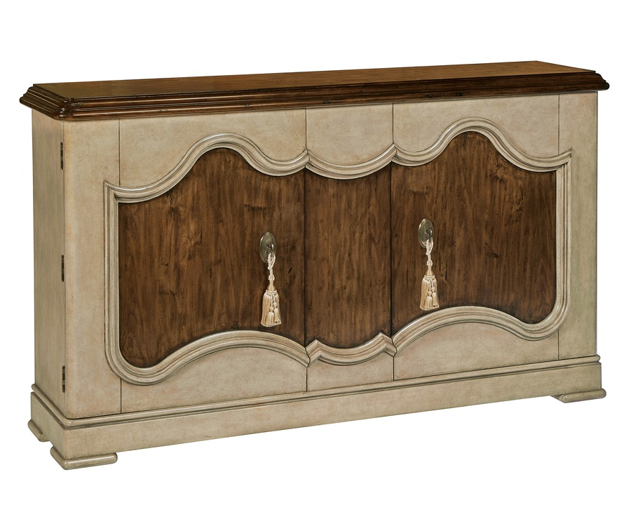 Majorca Credenza shown with:Dapple finish on baseOld World Briar on top and front panelAged Medici finish trimAntique Medici hardwareDecorative Majorca Key Tassels