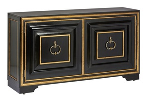 Majorca Credenza shown with:Ebony finishVenetian Gold finish trimAntique Nickel / Antique Brass traditional hardware