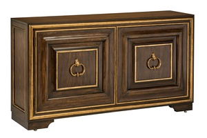 Majorca Credenza shown with:Briar finishVenetian Gold finish trimAntique Brass traditional hardware