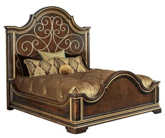 MajorcaPanel Bedshown with:Havana framefinishBurnished Silver finish on decorative scrollworkAged Venetian Gold finish trim